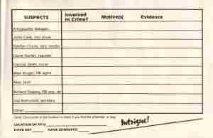 Suspect Sheet